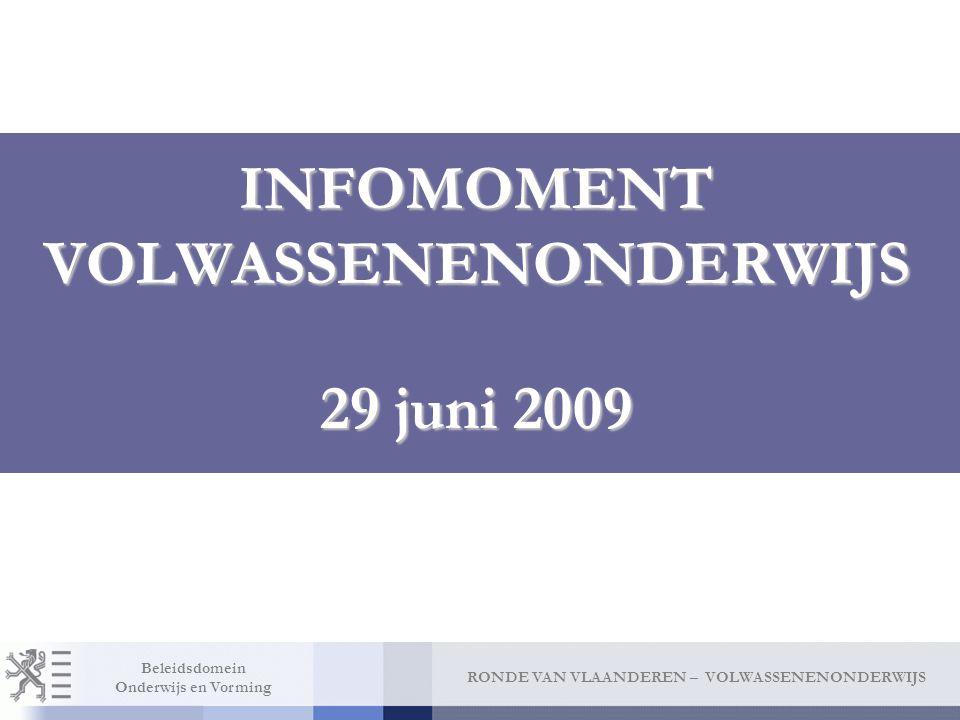 INFOMOMENT VOLWASSENENONDERWIJS 29 juni 2009