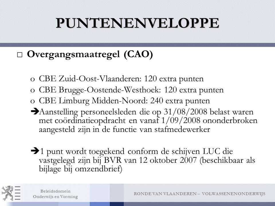 PUNTENENVELOPPE Overgangsmaatregel (CAO)