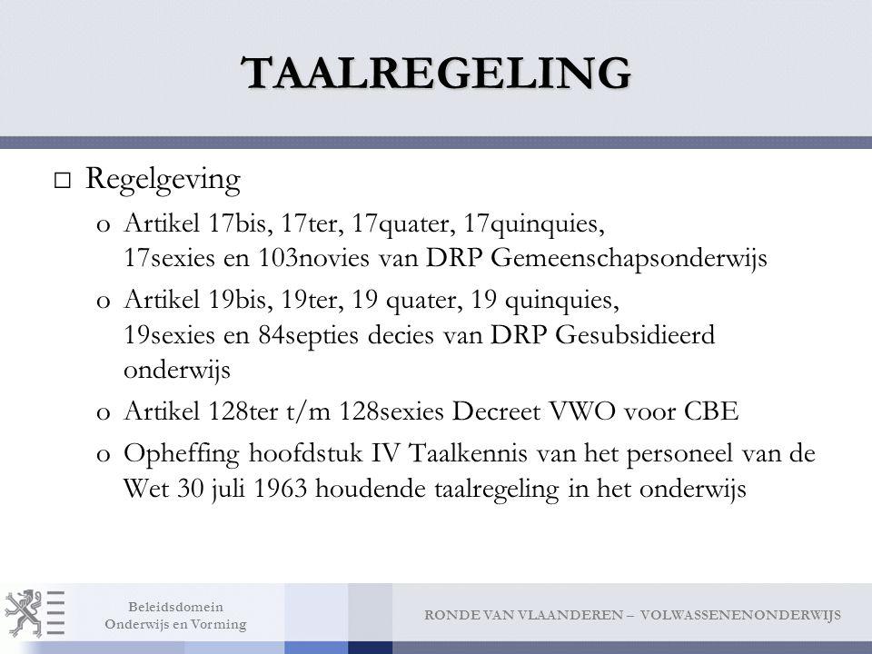 TAALREGELING Regelgeving