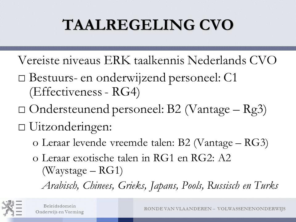 TAALREGELING CVO Vereiste niveaus ERK taalkennis Nederlands CVO