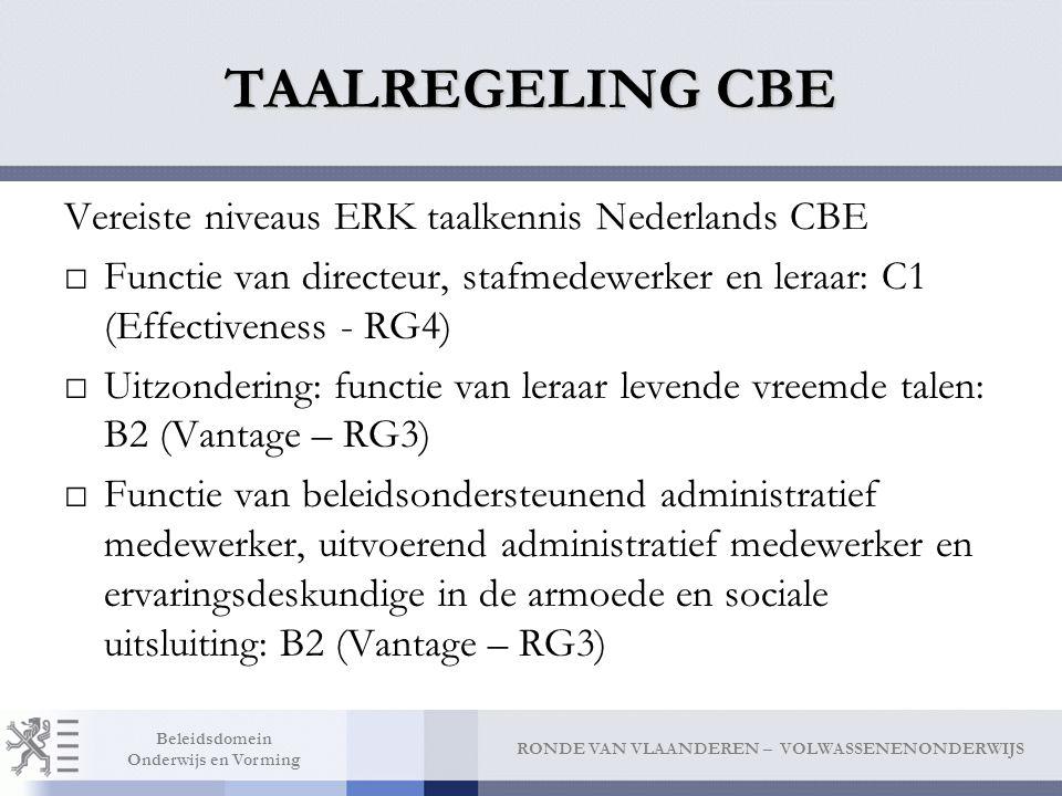 TAALREGELING CBE Vereiste niveaus ERK taalkennis Nederlands CBE