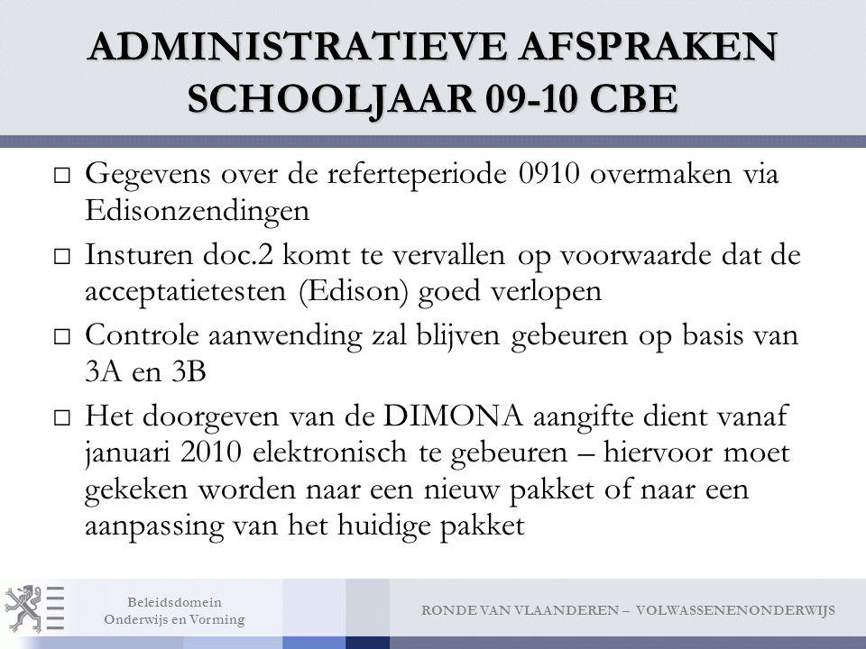 ADMINISTRATIEVE AFSPRAKEN SCHOOLJAAR 09-10 CBE