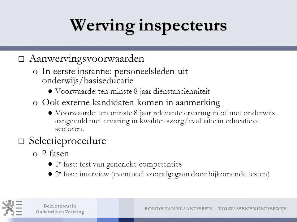 Werving inspecteurs Aanwervingsvoorwaarden Selectieprocedure