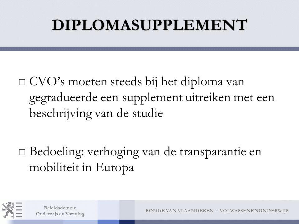 DIPLOMASUPPLEMENT CVO's moeten steeds bij het diploma van gegradueerde een supplement uitreiken met een beschrijving van de studie.
