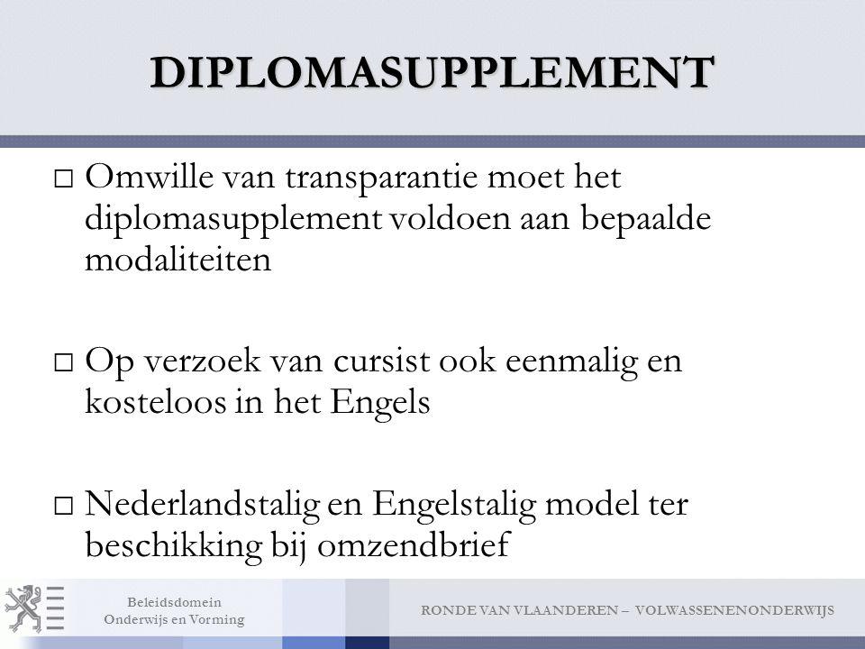 DIPLOMASUPPLEMENT Omwille van transparantie moet het diplomasupplement voldoen aan bepaalde modaliteiten.