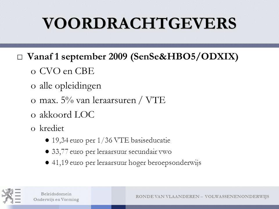 VOORDRACHTGEVERS Vanaf 1 september 2009 (SenSe&HBO5/ODXIX) CVO en CBE