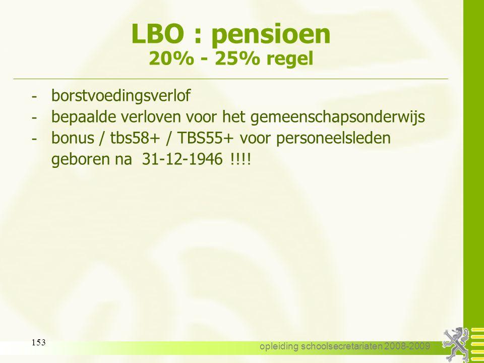 LBO : pensioen 20% - 25% regel