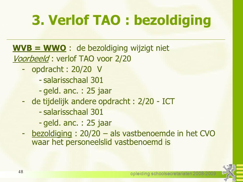 3. Verlof TAO : bezoldiging
