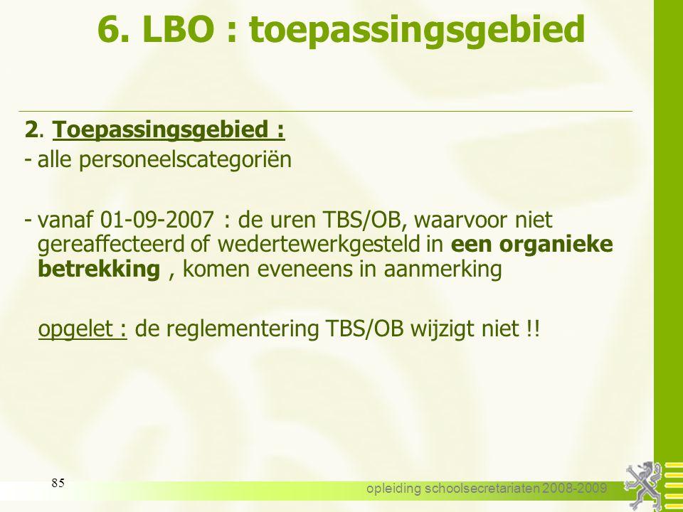 6. LBO : toepassingsgebied