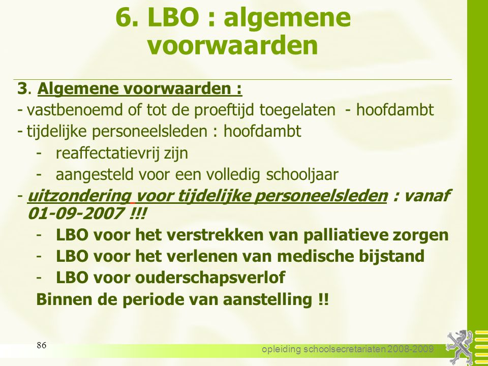 6. LBO : algemene voorwaarden