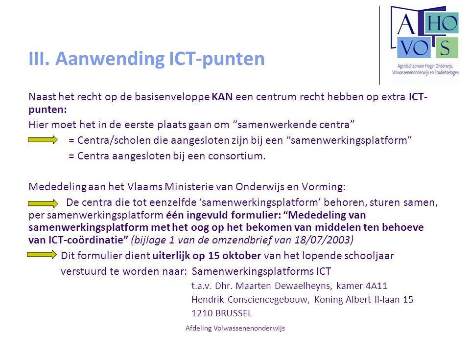 III. Aanwending ICT-punten