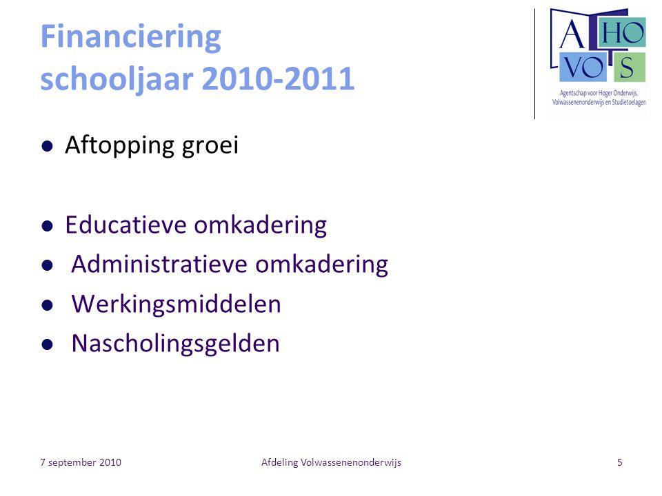 Financiering schooljaar 2010-2011