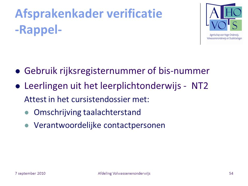 Afsprakenkader verificatie -Rappel-