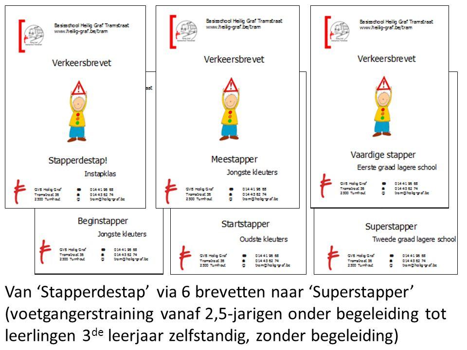 Van 'Stapperdestap' via 6 brevetten naar 'Superstapper' (voetgangerstraining vanaf 2,5-jarigen onder begeleiding tot leerlingen 3de leerjaar zelfstandig, zonder begeleiding)