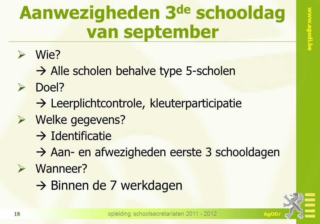 Aanwezigheden 3de schooldag van september