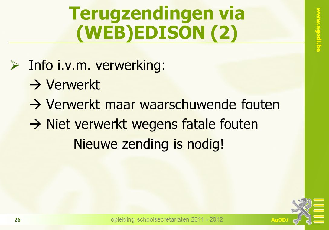 Terugzendingen via (WEB)EDISON (2)