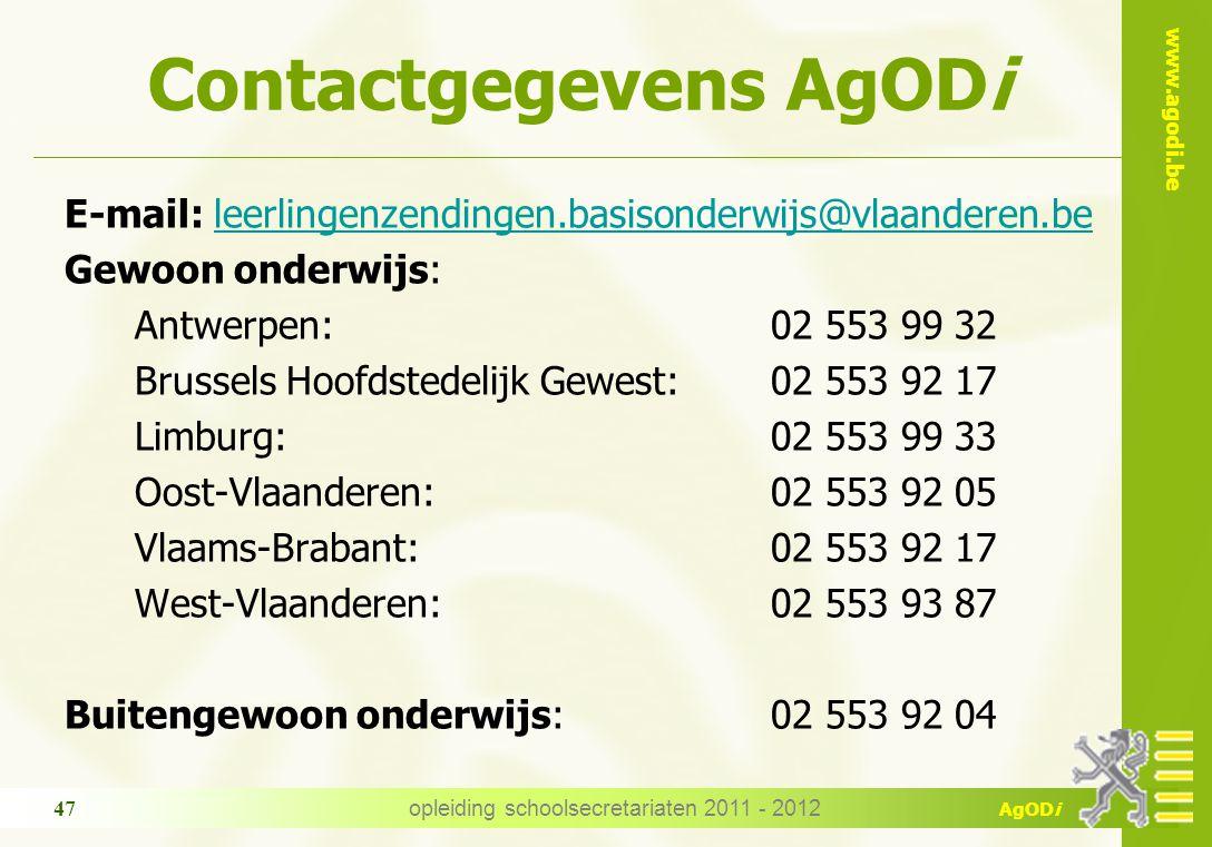 Contactgegevens AgODi