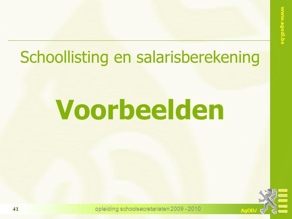 Voorbeelden Schoollisting en salarisberekening