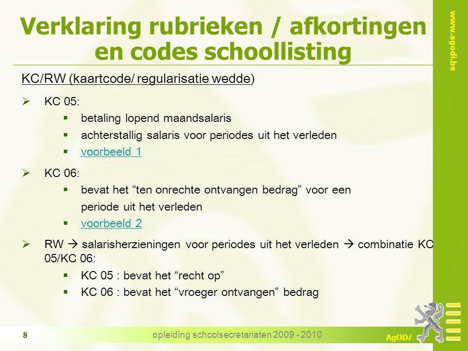 Verklaring rubrieken / afkortingen en codes schoollisting