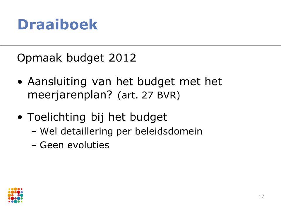 Draaiboek Opmaak budget 2012