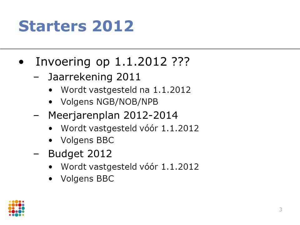 Starters 2012 Invoering op 1.1.2012 Jaarrekening 2011