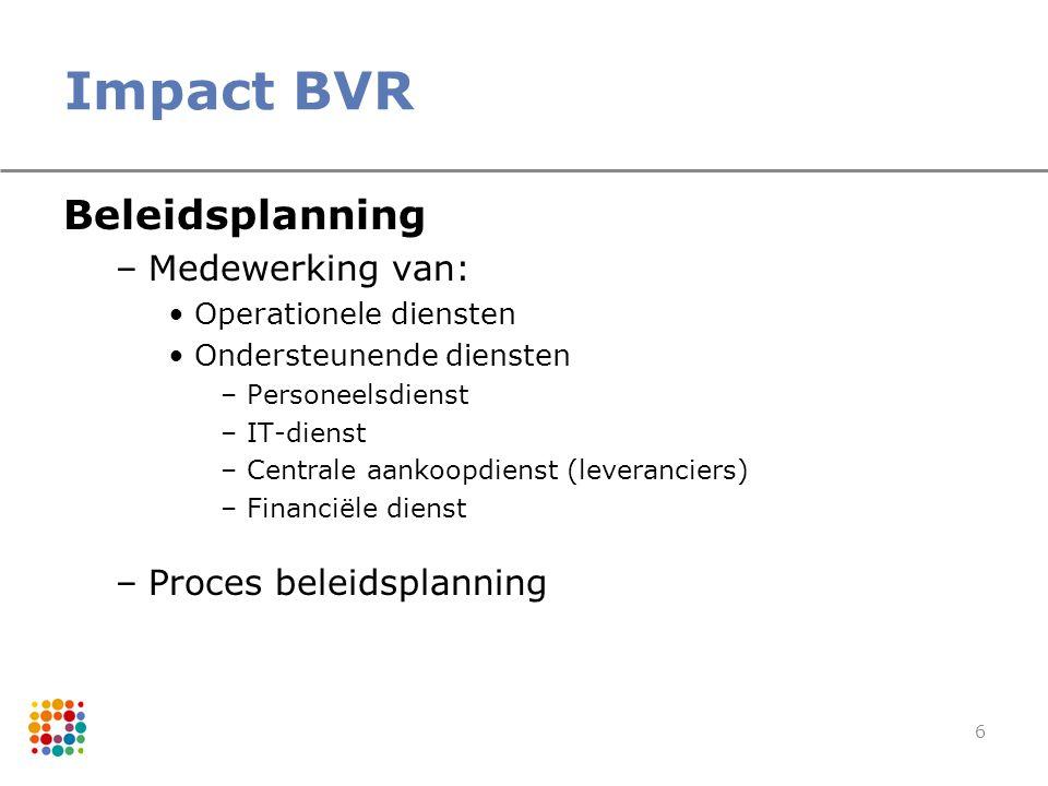 Impact BVR Beleidsplanning Medewerking van: Proces beleidsplanning