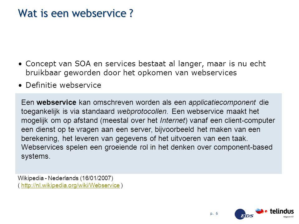 Wat is een webservice Concept van SOA en services bestaat al langer, maar is nu echt bruikbaar geworden door het opkomen van webservices.