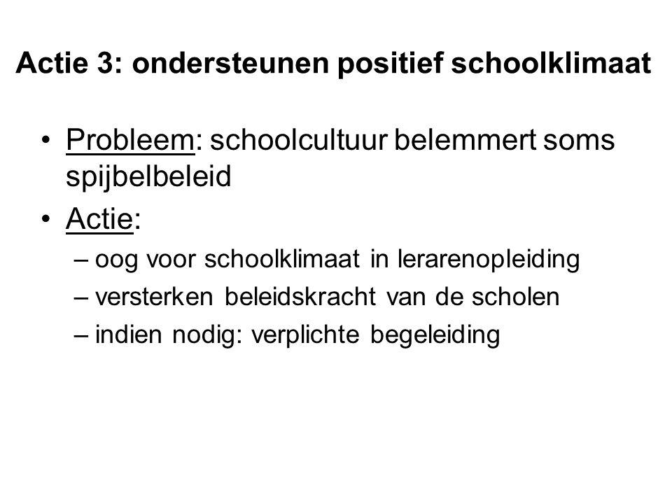 Actie 3: ondersteunen positief schoolklimaat