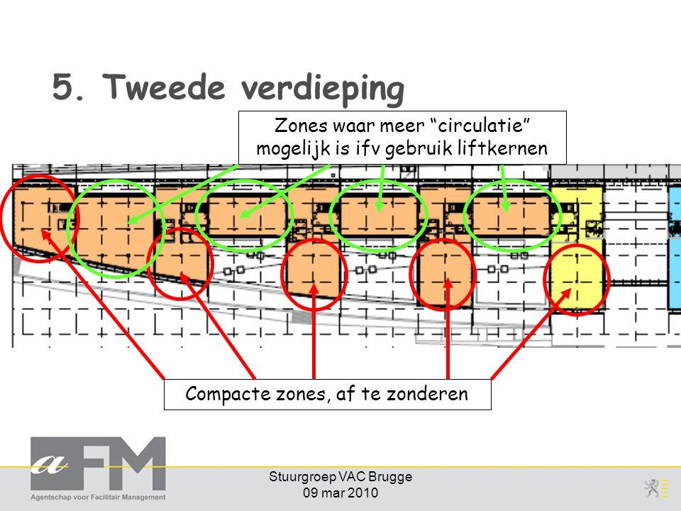 5. Tweede verdieping Zones waar meer circulatie mogelijk is ifv gebruik liftkernen. Compacte zones, af te zonderen.