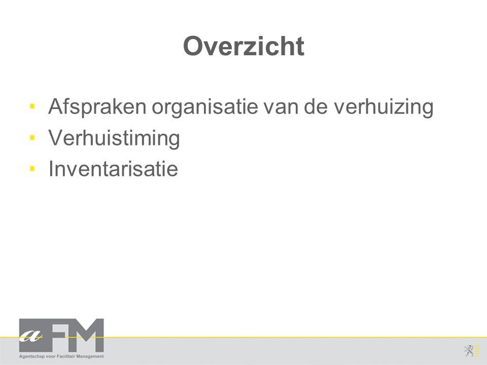 Overzicht Afspraken organisatie van de verhuizing Verhuistiming