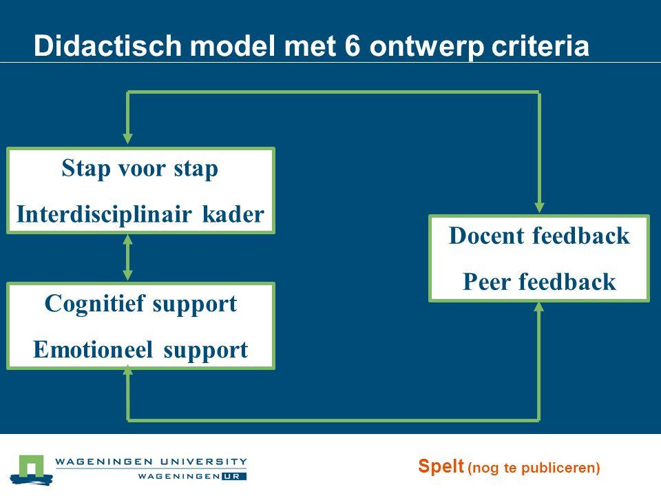 Didactisch model met 6 ontwerp criteria