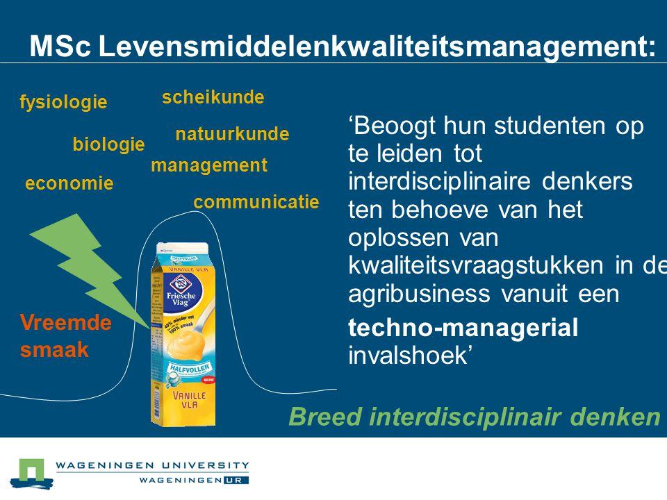 MSc Levensmiddelenkwaliteitsmanagement: