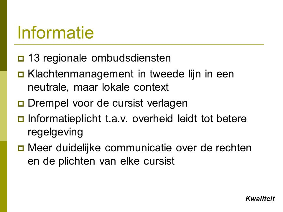 Informatie 13 regionale ombudsdiensten