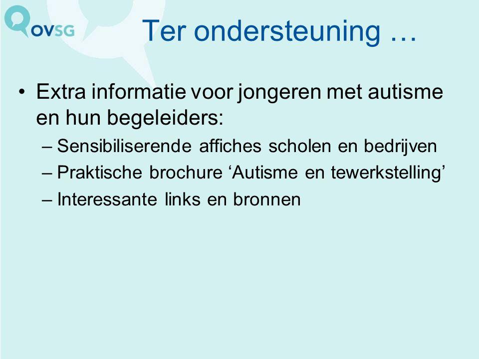 Ter ondersteuning … Extra informatie voor jongeren met autisme en hun begeleiders: Sensibiliserende affiches scholen en bedrijven.