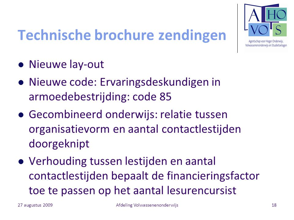 Technische brochure zendingen