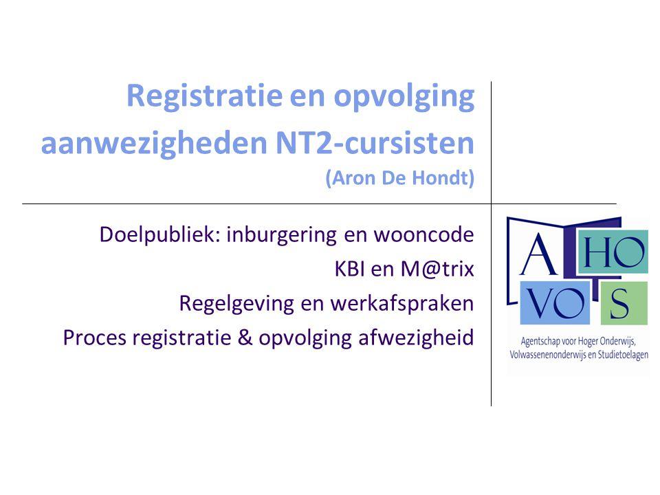 Registratie en opvolging aanwezigheden NT2-cursisten (Aron De Hondt)