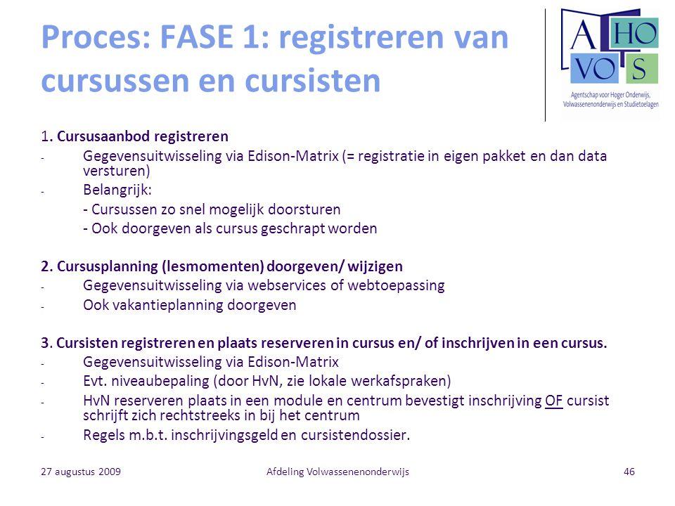 Proces: FASE 1: registreren van cursussen en cursisten