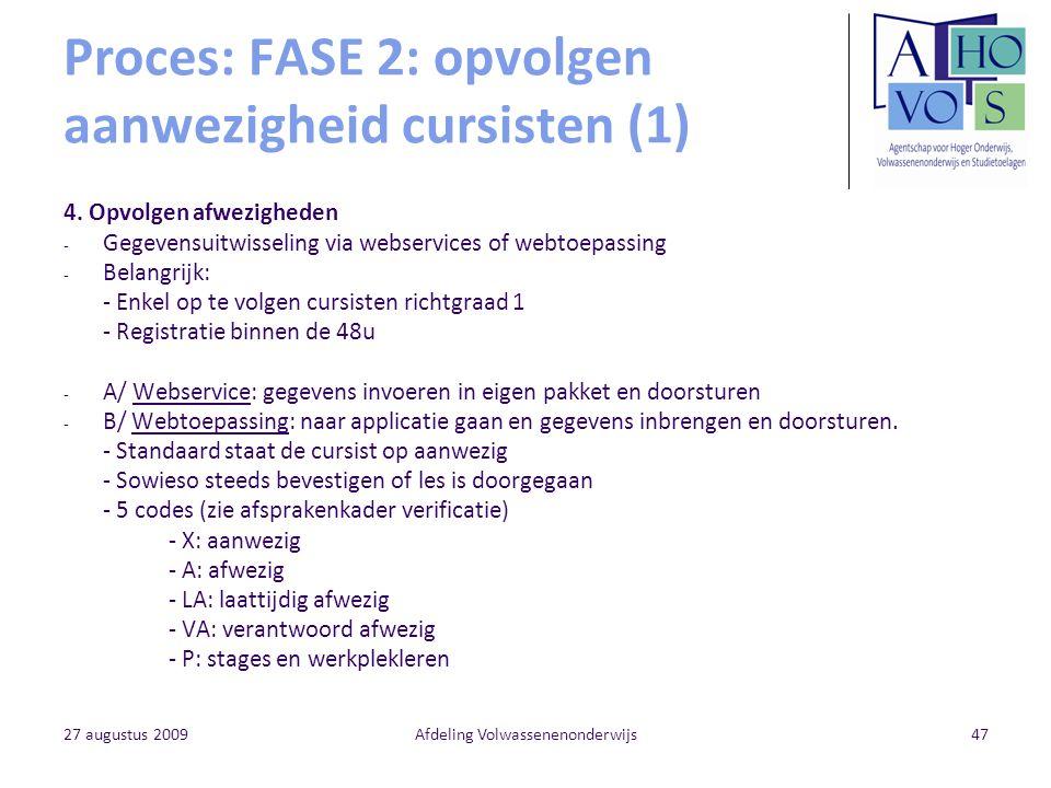 Proces: FASE 2: opvolgen aanwezigheid cursisten (1)