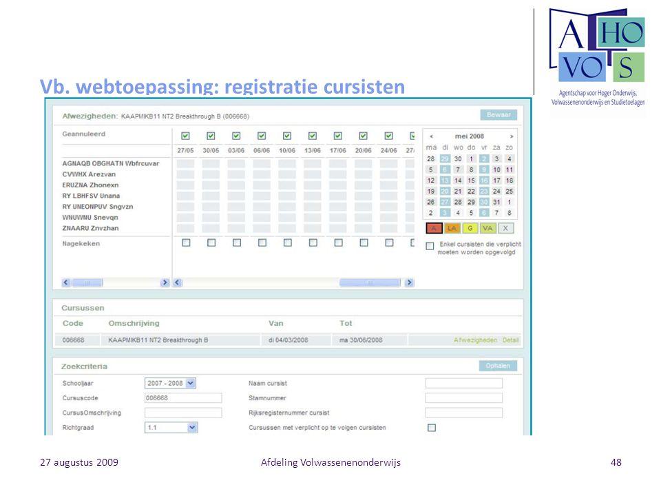 Vb. webtoepassing: registratie cursisten