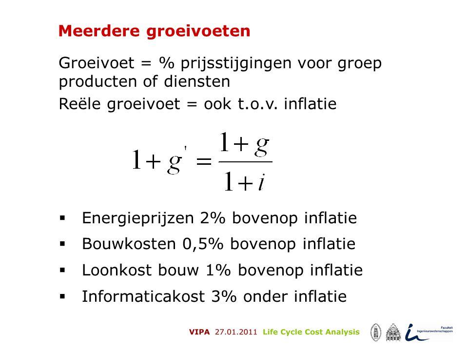 Meerdere groeivoeten Groeivoet = % prijsstijgingen voor groep producten of diensten. Reële groeivoet = ook t.o.v. inflatie.