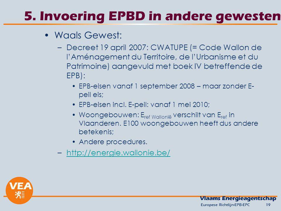 5. Invoering EPBD in andere gewesten