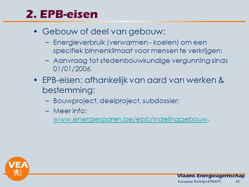 2. EPB-eisen Gebouw of deel van gebouw: