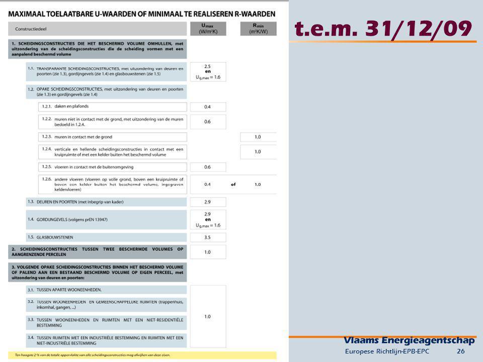 t.e.m. 31/12/09 Europese Richtlijn-EPB-EPC