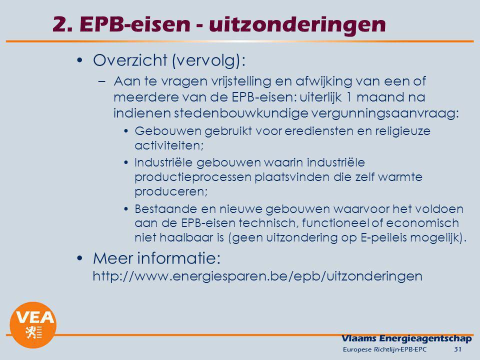 2. EPB-eisen - uitzonderingen