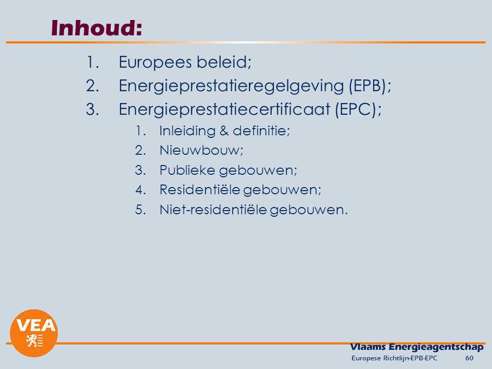 Inhoud: Europees beleid; Energieprestatieregelgeving (EPB);