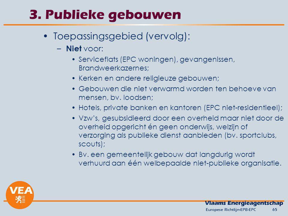 3. Publieke gebouwen Toepassingsgebied (vervolg): Niet voor: