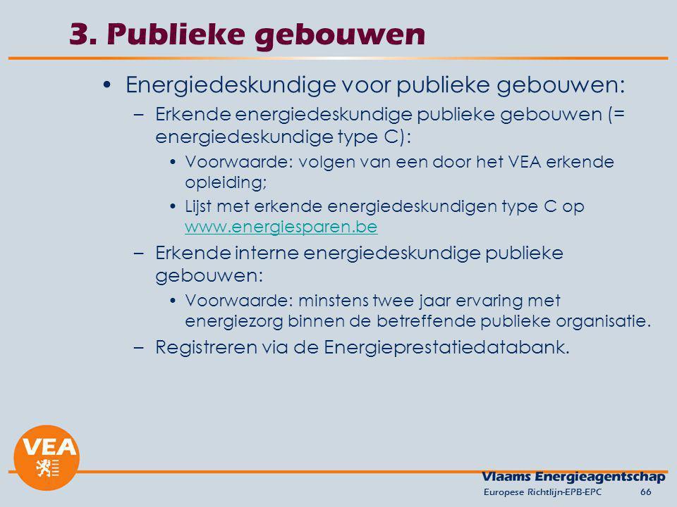 3. Publieke gebouwen Energiedeskundige voor publieke gebouwen: