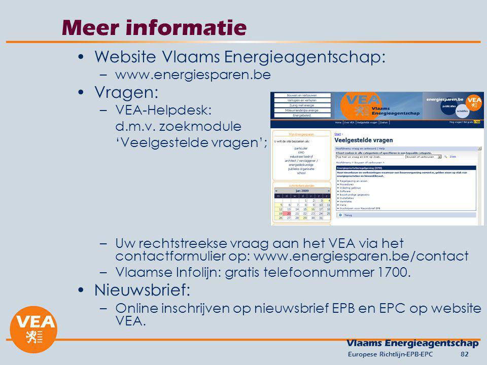 Meer informatie Website Vlaams Energieagentschap: Vragen: Nieuwsbrief:
