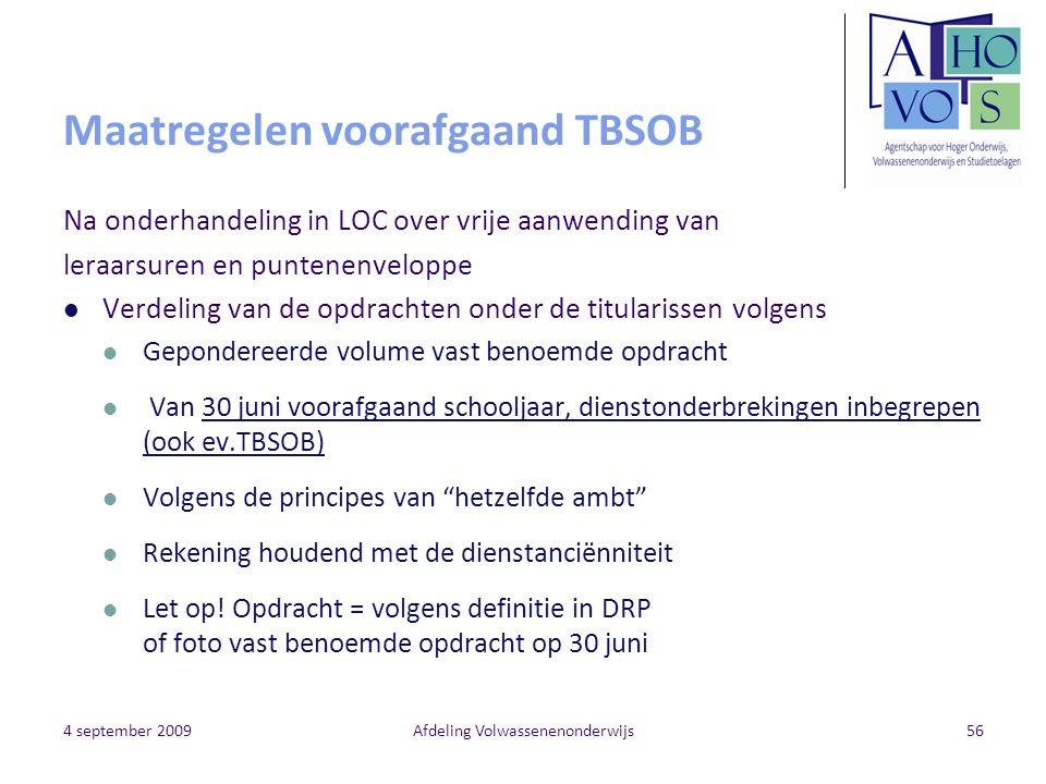Maatregelen voorafgaand TBSOB