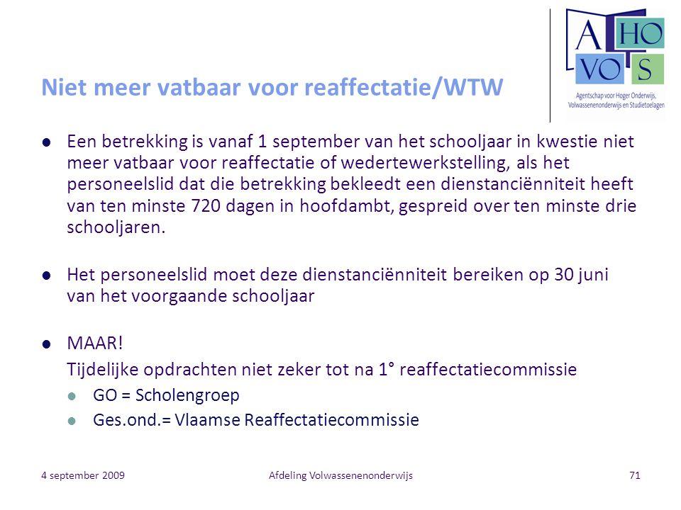 Niet meer vatbaar voor reaffectatie/WTW